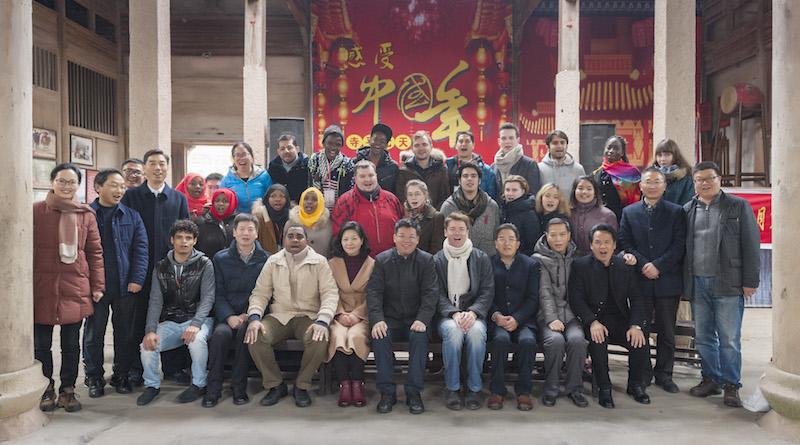 Group photo with Mayor Ji Junmin and international participants in Siping, Jinhua, Zhejiang, China